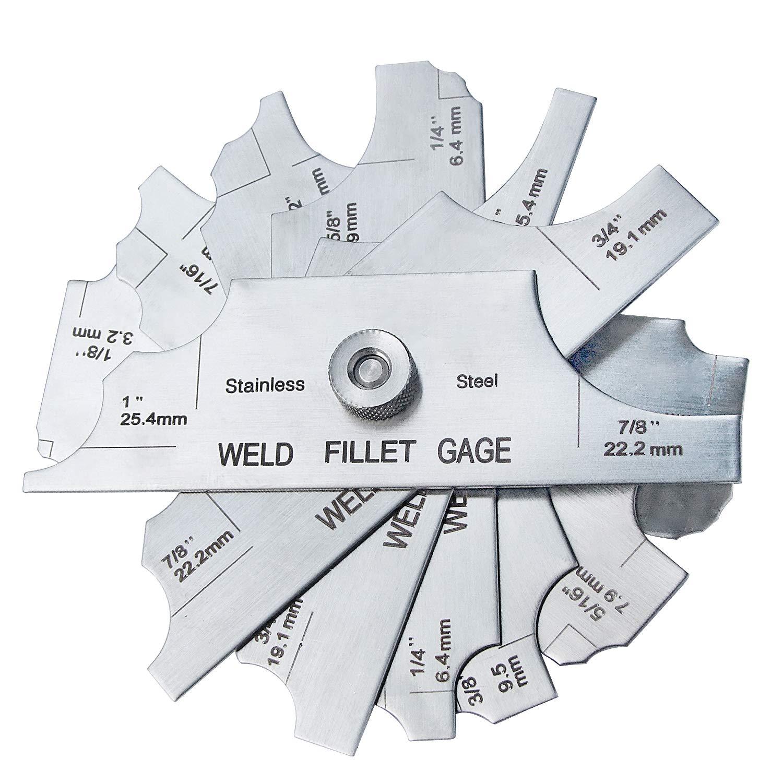 Inch//Metric MG-11 Welding Fillet Gauge 7pcs inspection gage