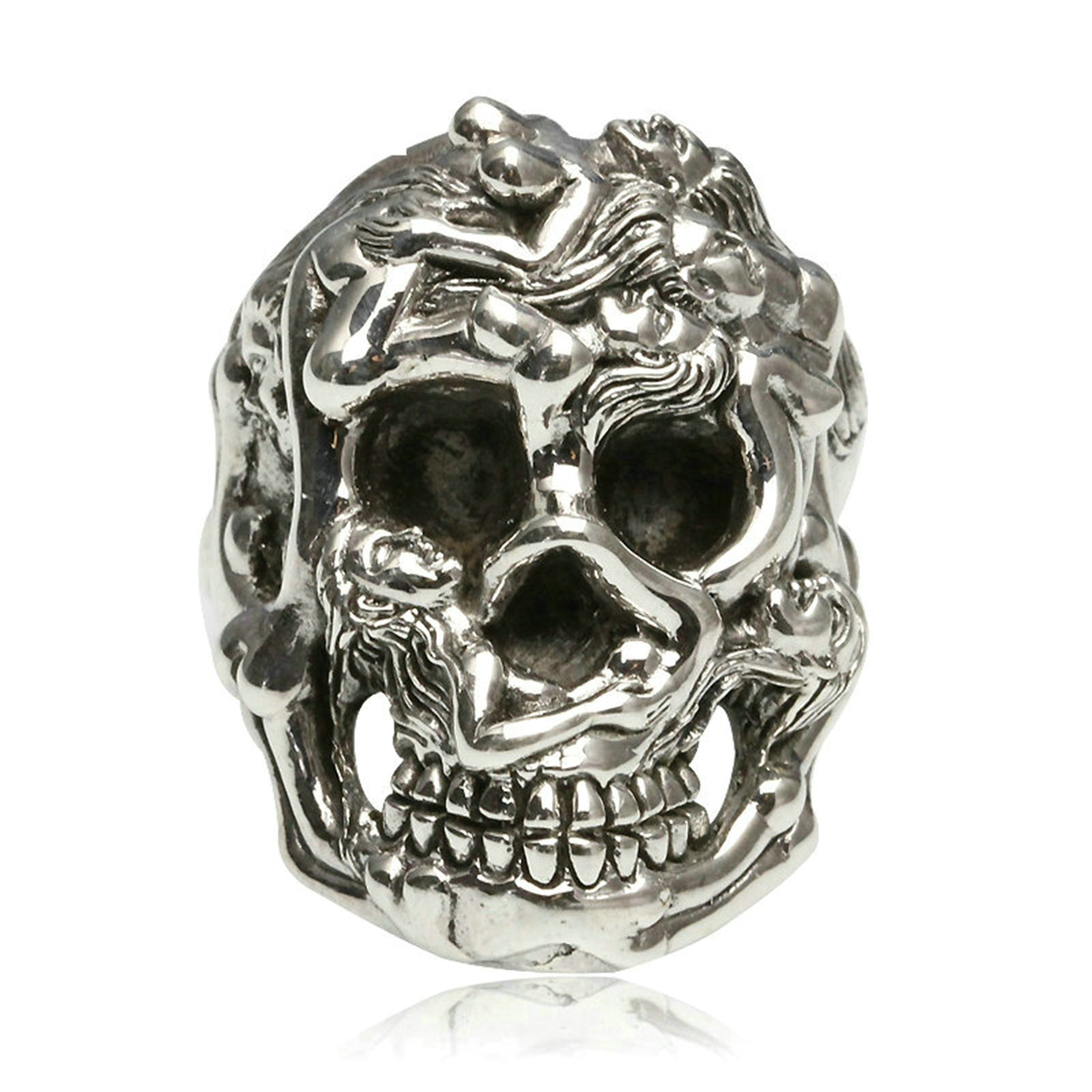 Adisaer Biker Rings Silver Ring for Men Six Naked Girl Skull Head Ring Size 11 Vintage Punk Jewelry by Adisaer