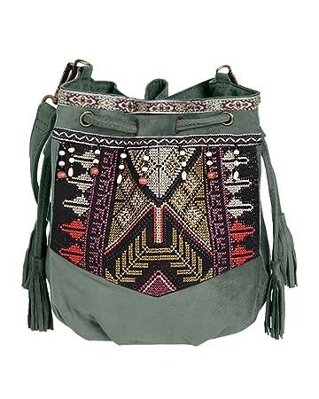 daab3e2153083 Beuteltasche Hippie Tasche Umhängetasche Fransentasche schwarz braun grün  bunt Fransen Beutel Handtasche Boho bucket bag