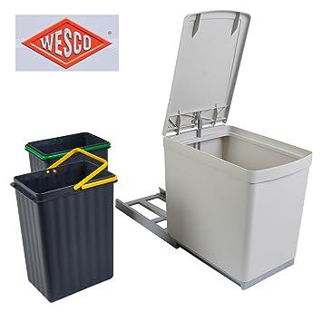Wesco Einbau Abfallsammler 2x7,5 L grau Mülleimer Müllsammler ...