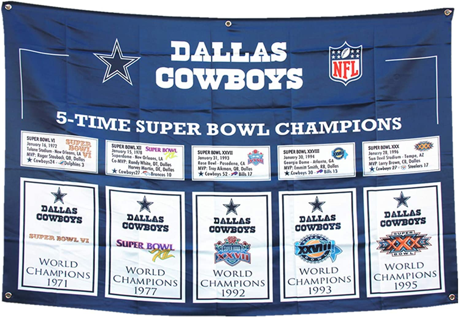 XiaKoMan 'Dallas 5 in 1 Super Bowl Champions Flag 3x5 House Outdoor/Indoor Garden Flags Banner Gifts for Men Youth Mens Kids Women