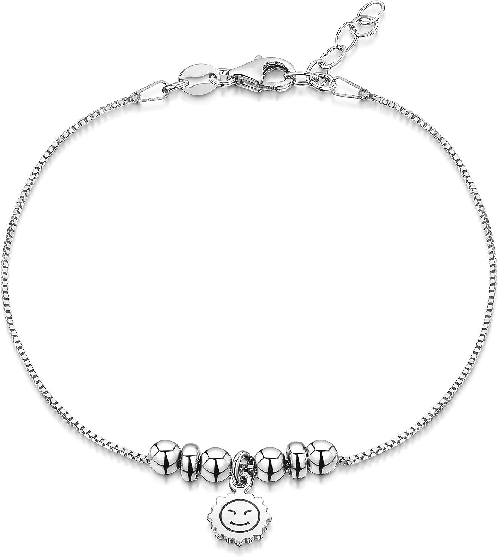 R/églable 22 /à 25,5 cm Amberta Bijoux Facilement Ajustable Cha/îne Argent 925//1000 Bracelet de Cheville