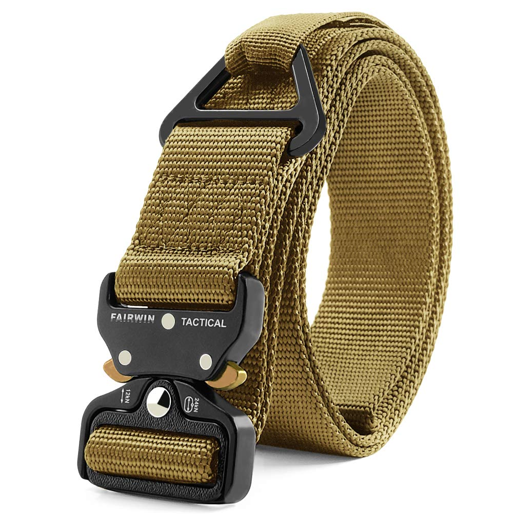 Fairwin Tactical Rigger Belt, Nylon Webbing Waist Belt with V-Ring Heavy-Duty Quick-Release Buckle (Brown, XXL (Waist 50''-54''Width 1.5'')) by Fairwin