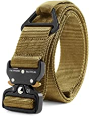 Fairwin Tactical Rigger Belt, Nylon Webbing Waist Belt with V-Ring Heavy-Duty Quick-Release Buckle