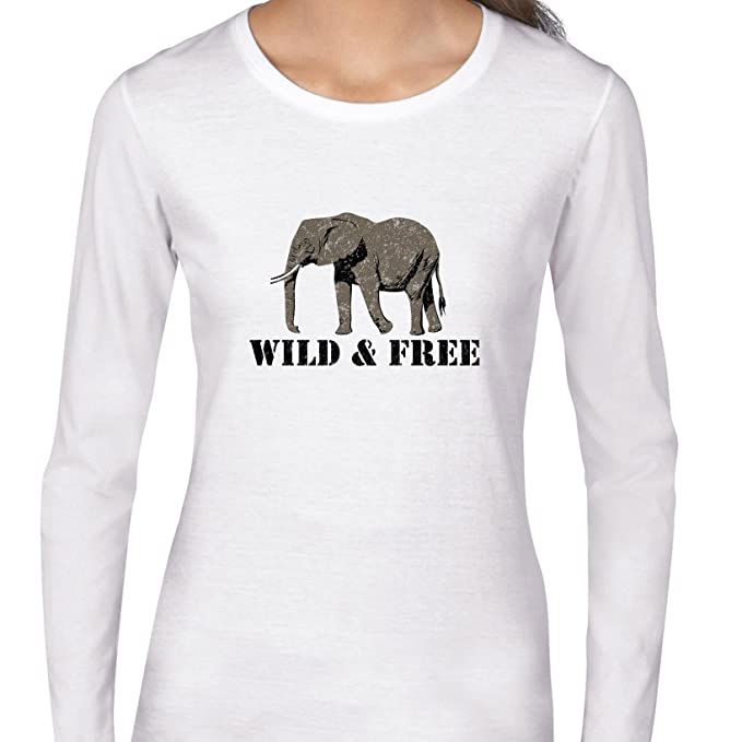 837e0acfa Amazon.com  Elephant Wild   Free - Save The Elephants Women s Long ...