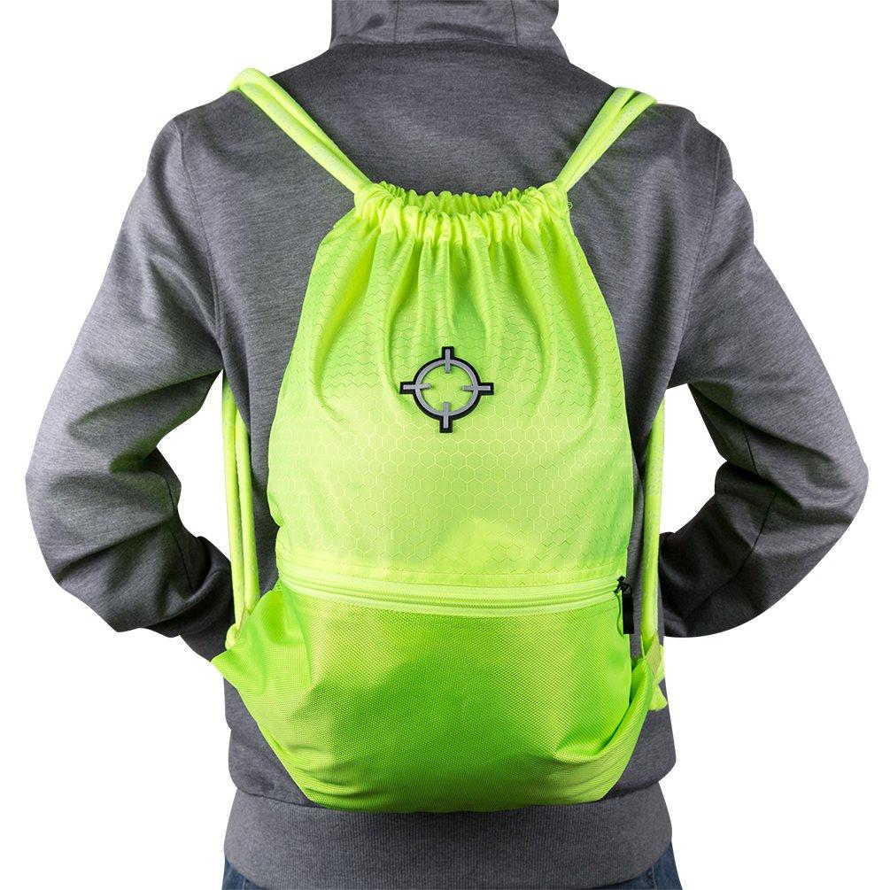 rigorerボール巾着バッグスポーツSackpack GymsackトレーニングバックパックCinch Bag B076F51DP7 グリーン グリーン