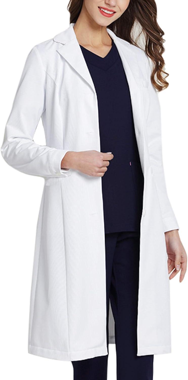 WWOO Bata de Laboratorio Mujer Blanco Bata de M/édico Uniforme Sanitario Ropa de Trabajo Actualizaci/ón de la Tela Delgado M