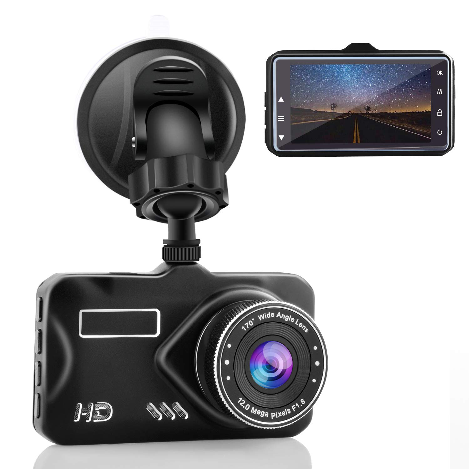 CHICOM 3' Dash Cam Full HD 1080P, 170 Degree Wide Angle LCD Dashboard Camera Car Video Recorder with Night Vision, G-Sensor, WDR, Loop Recording, Motion Detection, Parking Monitor (Black1)