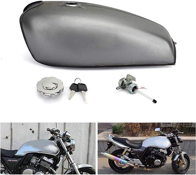 Tarazon 9l Universal Cafe Racer Motorrad Kraftstofftank Benzintank Tankdeckel Benzinhahn Für Honda Xf125 Für Yamaha Für Suzuki Auto