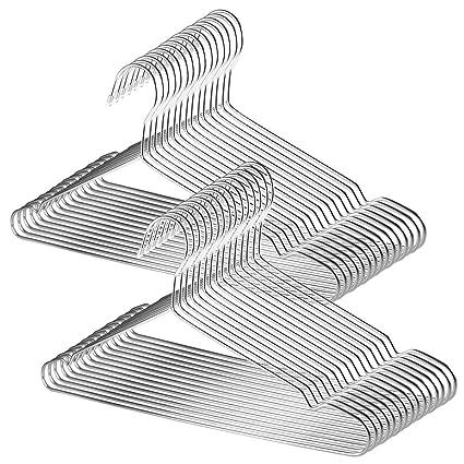 TUXWANG 18/10 Perchas de Acero Inoxidable 30 Piezas un Conjunto Perchas de Alambre Metálico de Acero Inoxidable Resistentes. Perchas Metalicas, ...