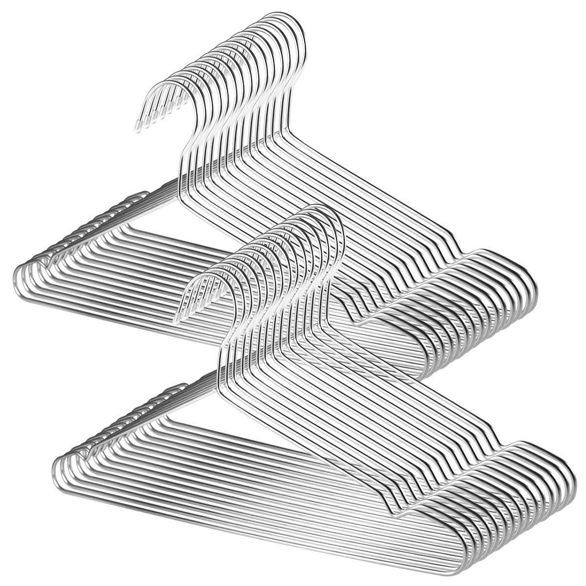 TUXWANG 18/10 Perchas de Acero Inoxidable 30 Piezas un Conjunto Perchas de Alambre Metálico