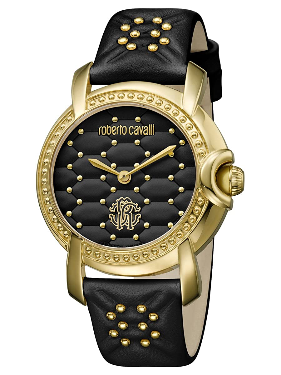 Amazon.com  Roberto Cavalli by Frank Muller Quilted IP Gold Black Womens  36mm Watch RV1L019L0066  Watches 46a8797fe5a