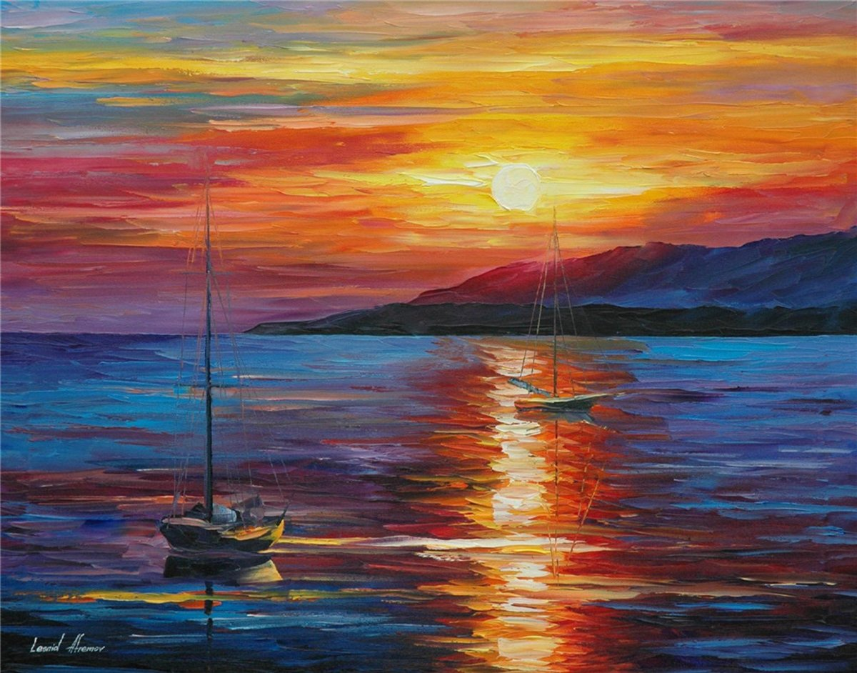100% Hand Painted Oil Paintings Modern Abstract Art Oil Painting Sunrise on the Sea Home Wall Decor (20X28 Inch, Wall Arts 10) by Bingo Arts