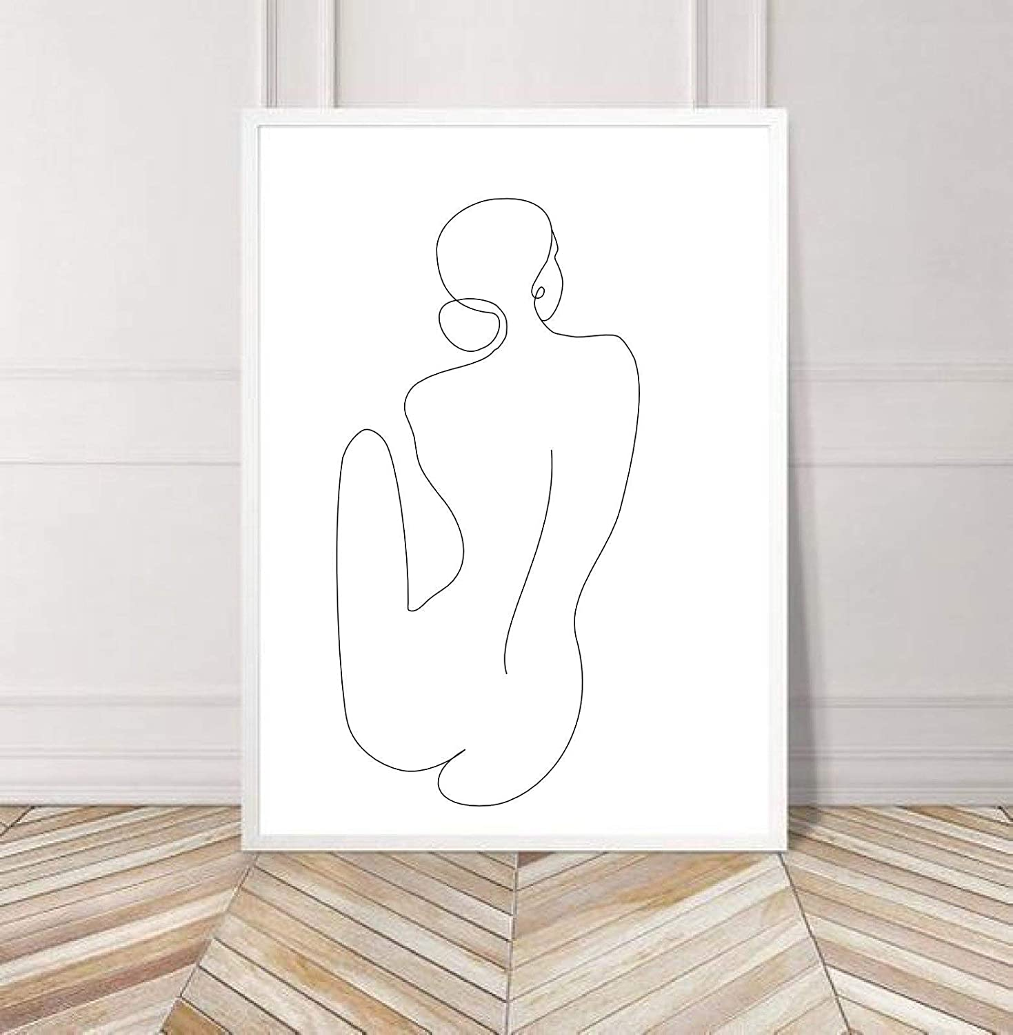 Amazon Com Arvier Woman Body Line Art Naked Woman Sketch Line Art Wall Body Sketch Printable Female Drawing Feminine Poster Nude Body One Line Drawing Framed Wall Art Everything Else