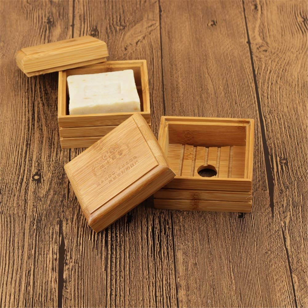2 Piezas de jab/ón de bamb/ú Natural para Cocina y ba/ño jaboneras de Madera con Tapas LouisaYork Cajas de jab/ón