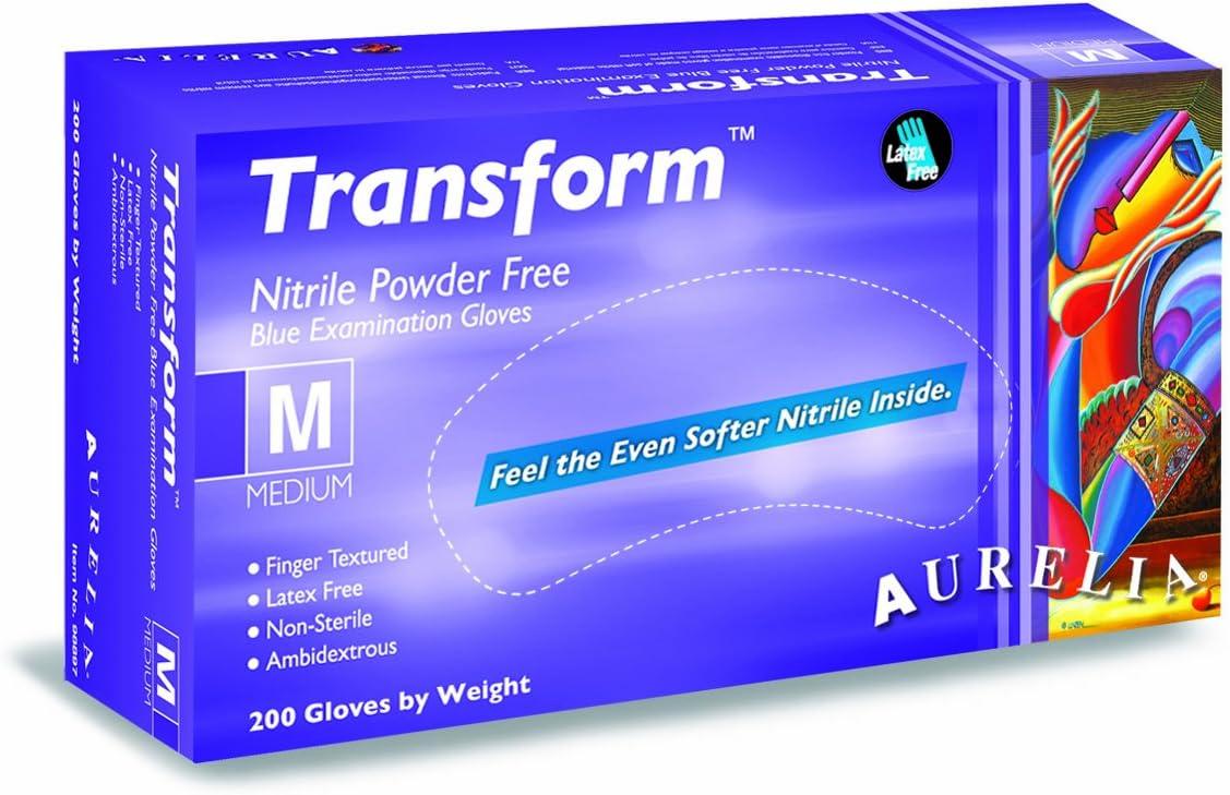 Talla M Azul Paquete de 200 Piezas Aurelia Transform Medical Guantes de Nitrilo Sin Polvo