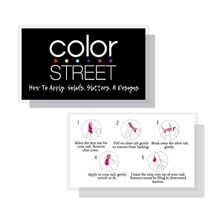 Color Street Application Instruction Cards How To Apply 50 Pk Glitters Solids Designs