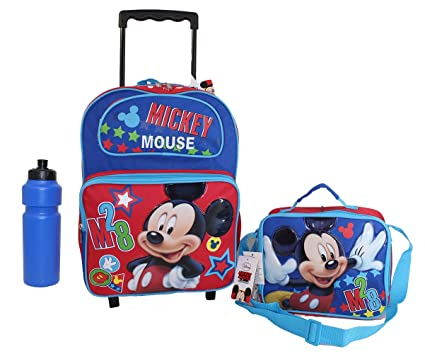 d0203efafb3 Image Unavailable. Image not available for. Color  New Disney Mickey Mouse  Rolling Backpack ...