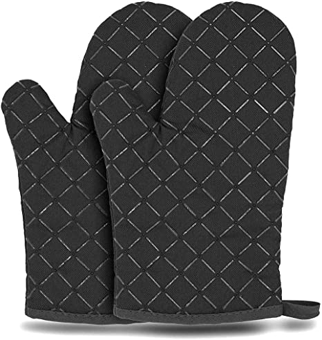 """BIGTO Oven Glove Heat Resistant Silicone Shell Kitchen Microwave Oven Glove for 500 Degrees with waterproof for BBQ Cooking set Baking Grilling Barbecue Microwave Gauntlet 13/""""*7.5"""