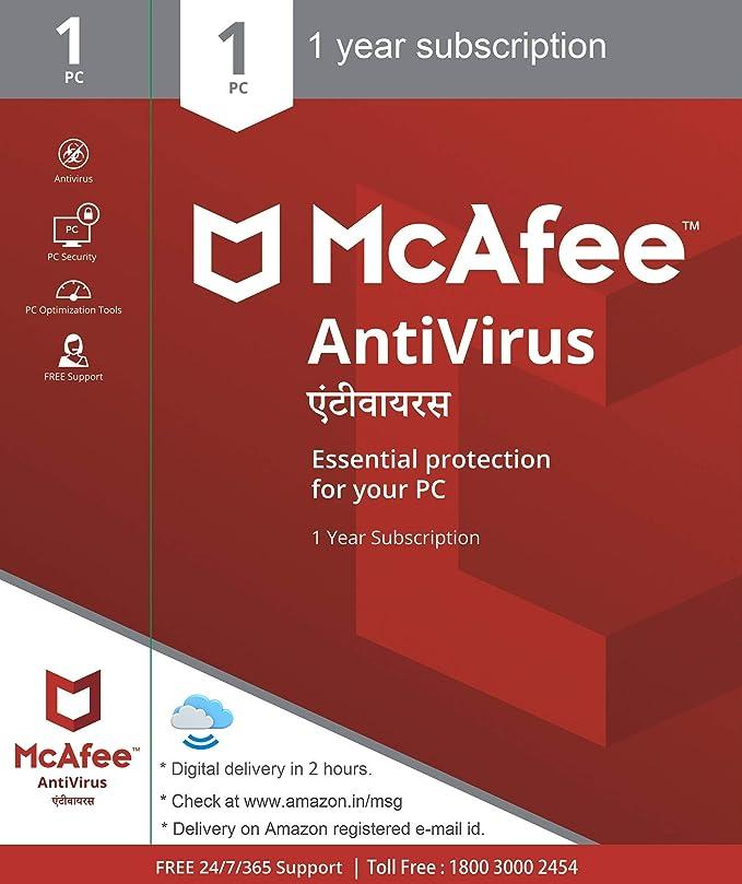 McAfee Anti-Virus - 1 PC, 1 Year (Activation Key Card)