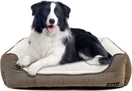 ANWA Durable Dog Bed Machine Washable Medium Dog Bed Square, Comfortable Puppy Dog Bed Medium