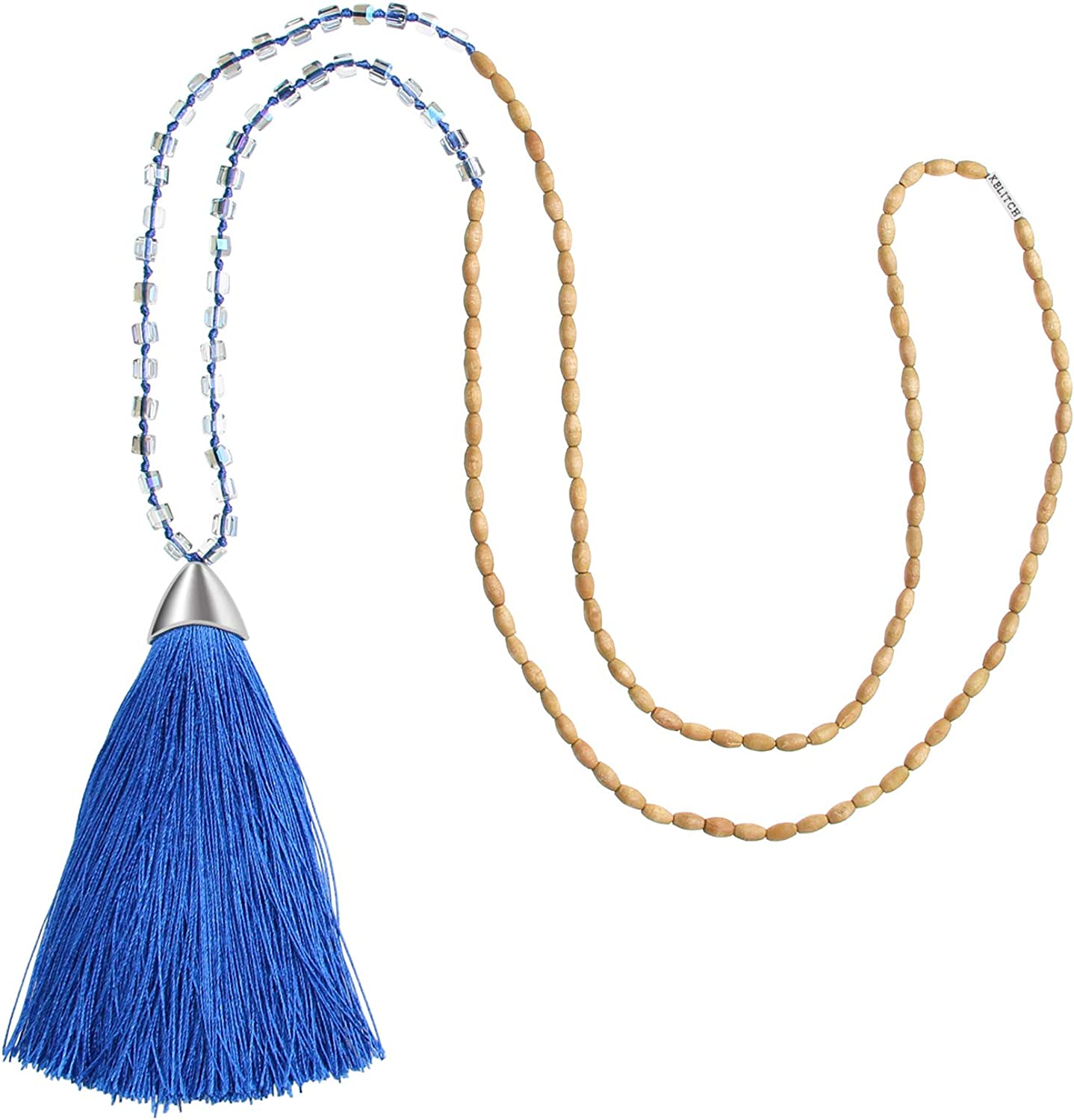 KELITCH Long Tassel Necklace Handmade Wooden Crystal Beads Pendant Strand Necklace for Women Gifts New Jewelry