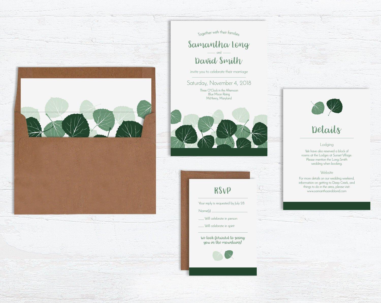 Aspen Leaves Wedding Invitation Sets by Wild Blue Dream & Wild Blue Weddings