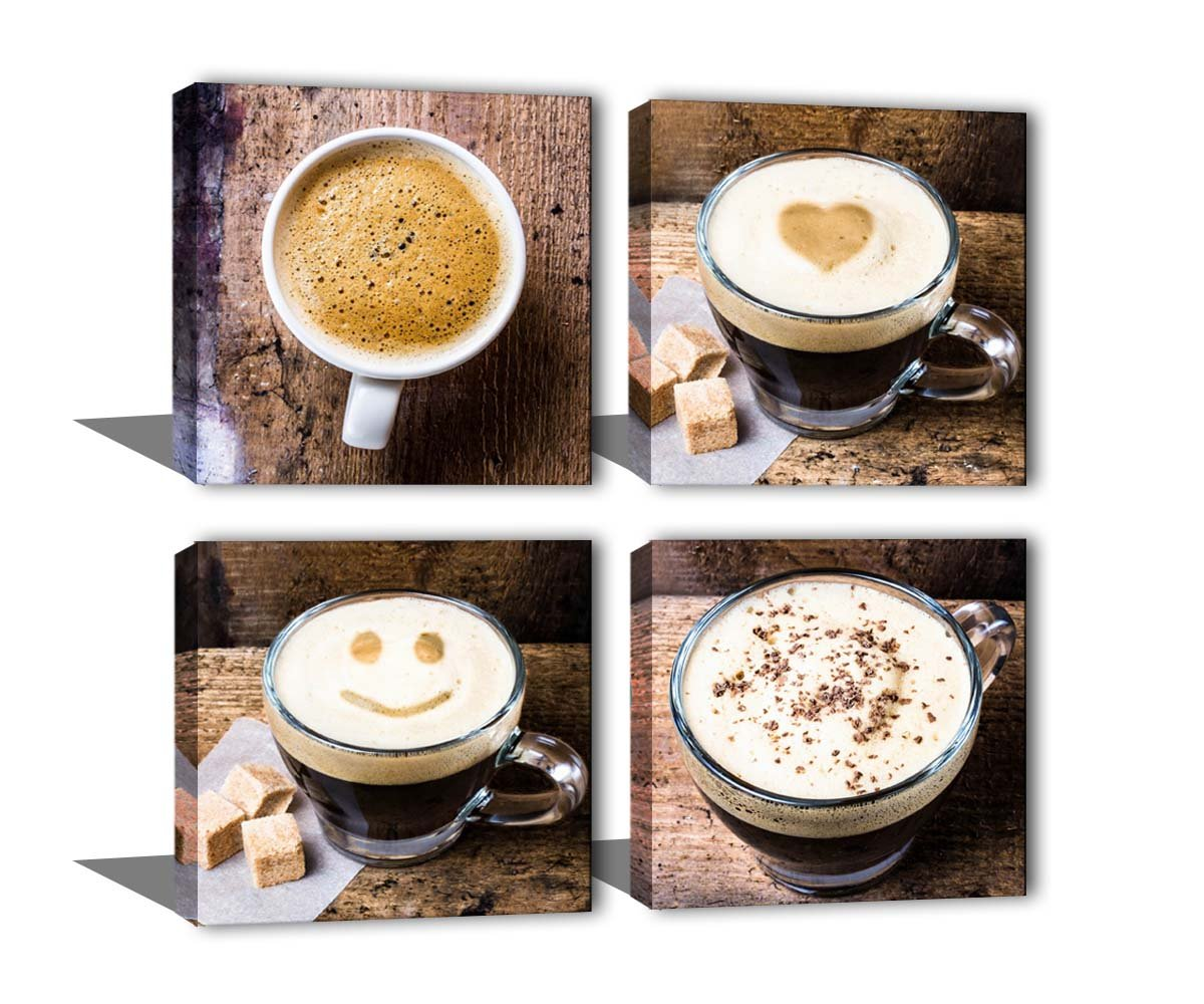 Noah Art-Contemporary Coffee Cup Wall Decor Canvas Prints, Drinking Artwork Coffee Painting Photo Printing, 4 Panel Framed Coffee Themed Canvas Wall Art for Cafe Kitchen Dining Room Wall Decoration Noah Art Gallery ACP003P4