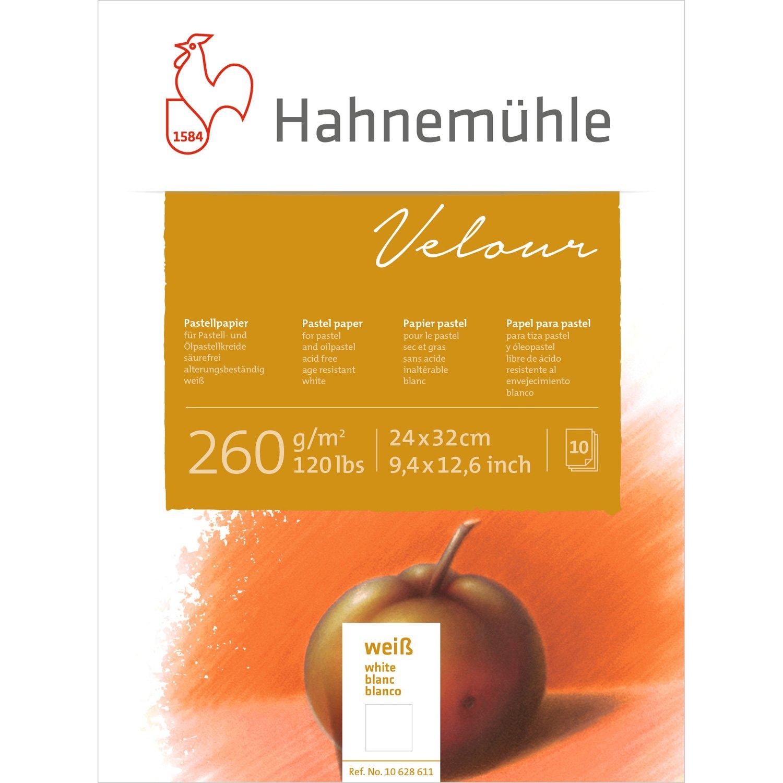 Pastellpapier Velour Block weiß 260g/m², 24x32cm, 10Blatt Hahnemühle