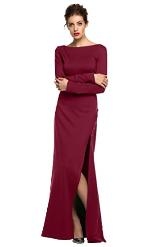 ANGVNS Evening Dress Women O-Neck Sexy Side Slit Maxi Solid Backless Party Dress