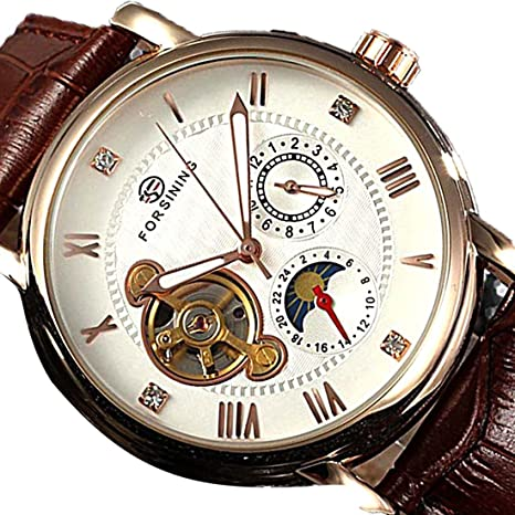 joyliveCY Automático mecánico Tourbillon reloj lujo rueda libre banda de cuero reloj de pulsera