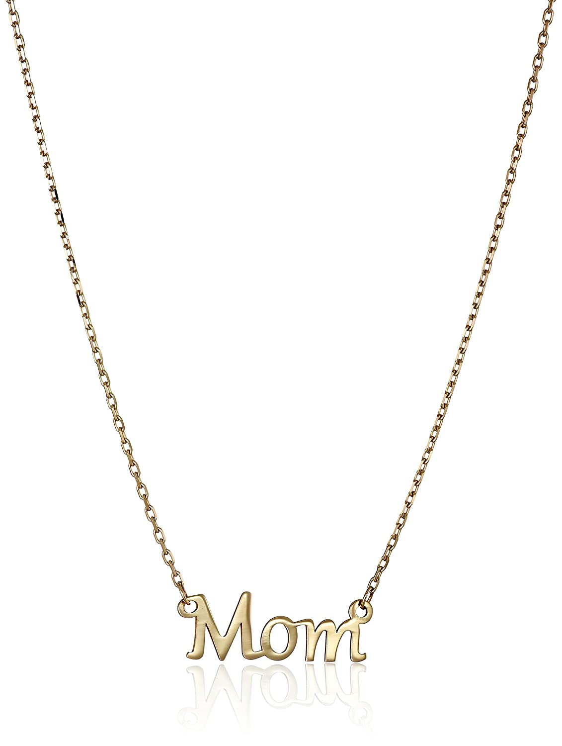 """14k Yellow Gold """"Mom"""" Stationed Pendant Necklace, 17"""""""
