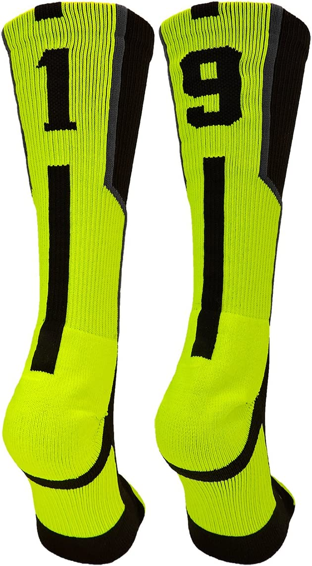 TCK Player Id Black//Electric Green Custom Jersey Number Crew Socks Pair