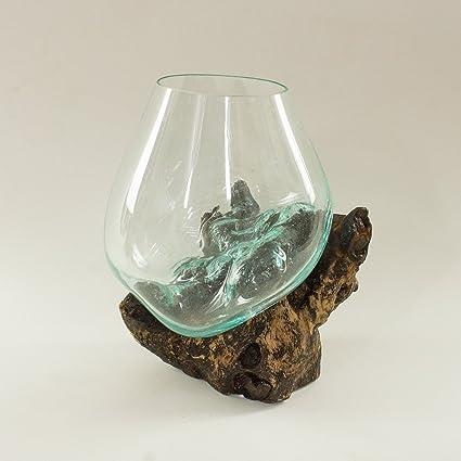 """11 """"27 cm pecera Terrario y Base de madera raíz decoración de la mesa"""