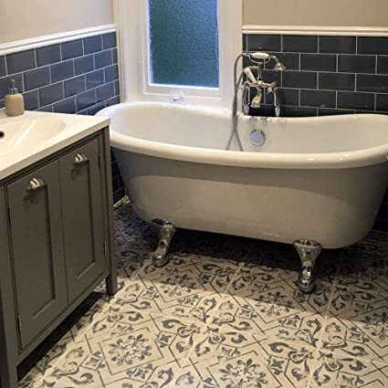 Harran Antique Vintage Encaustic Effect Blue Ceramic Floor 45x45