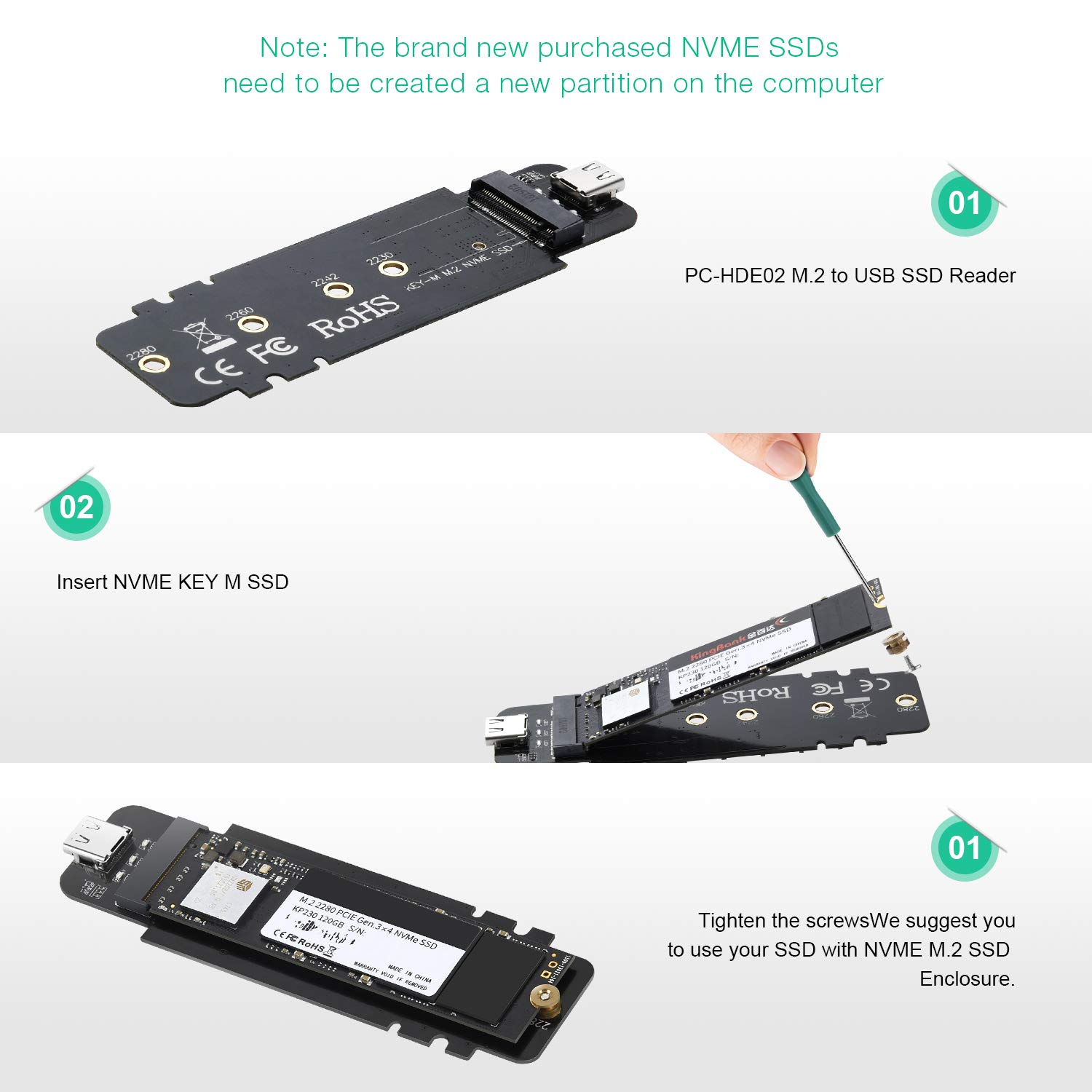 USB 3.1 Type-C to M.2 NVMe SSD Adapter,M-Key PCI-E NVMe SSD Based to USB 10GBPS External M.2 PCI-E NVMe Hard Drive Reader Adapter Support Drive Type 2230 2242 2260 2280 by CHOETECH (Image #7)