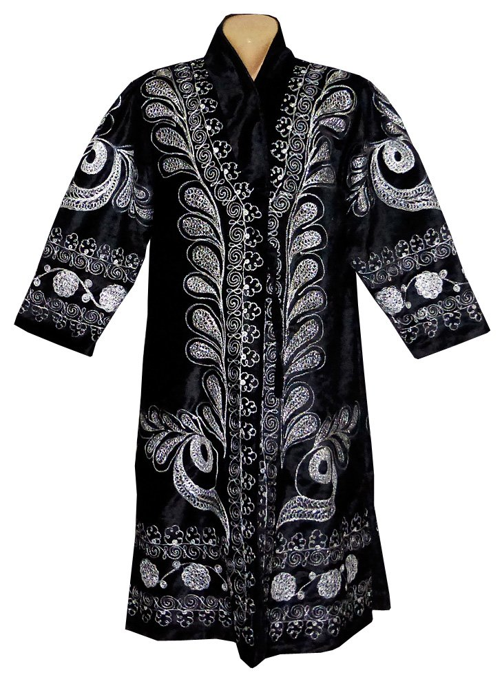 STUNNING UZBEK SILVER SILK EMBROIDERED ROBE CHAPAN FROM BUKHARA A8910