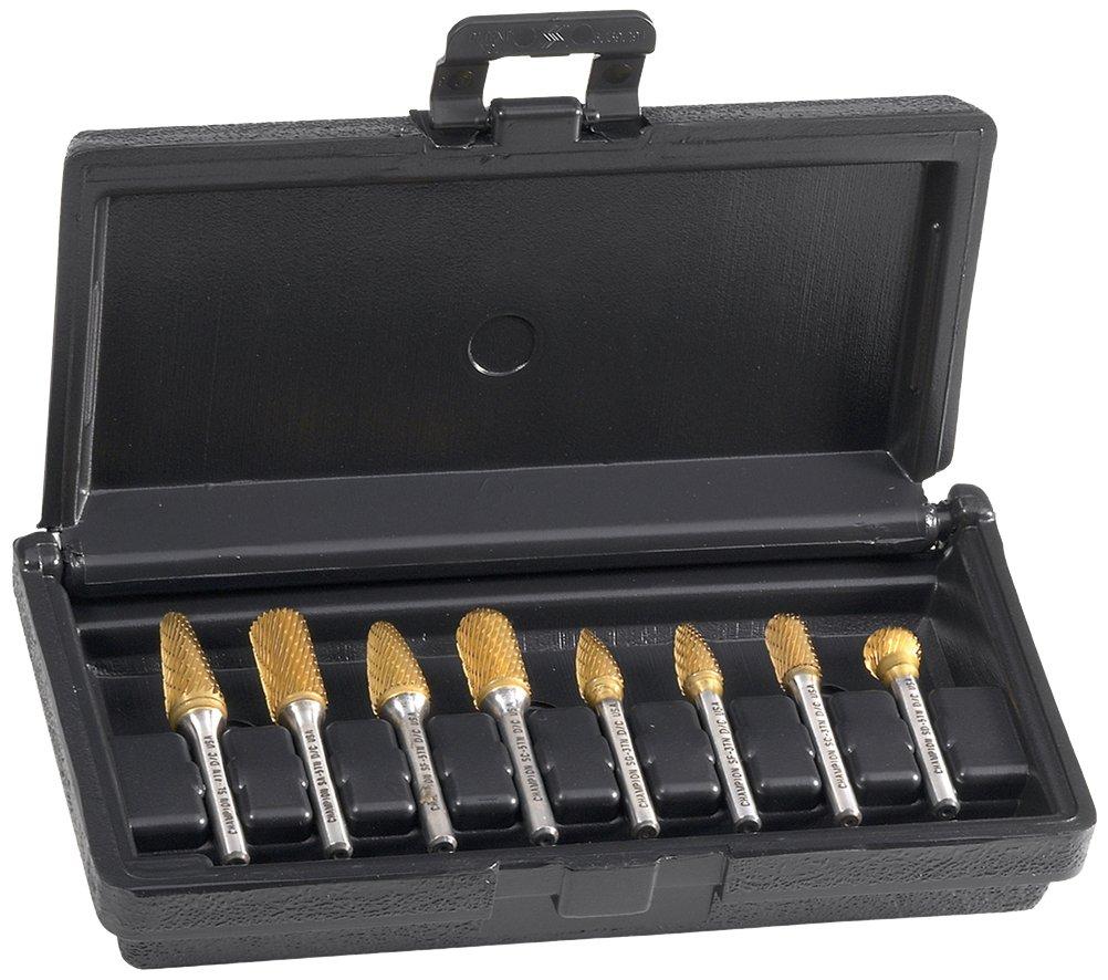 Champion Cutting Tool BK8P-5 Carbide Bur Set (SA5, SC5, SD5, SE5, SF5, SG5, SL4, SM5), Made in USA (8 Piece)