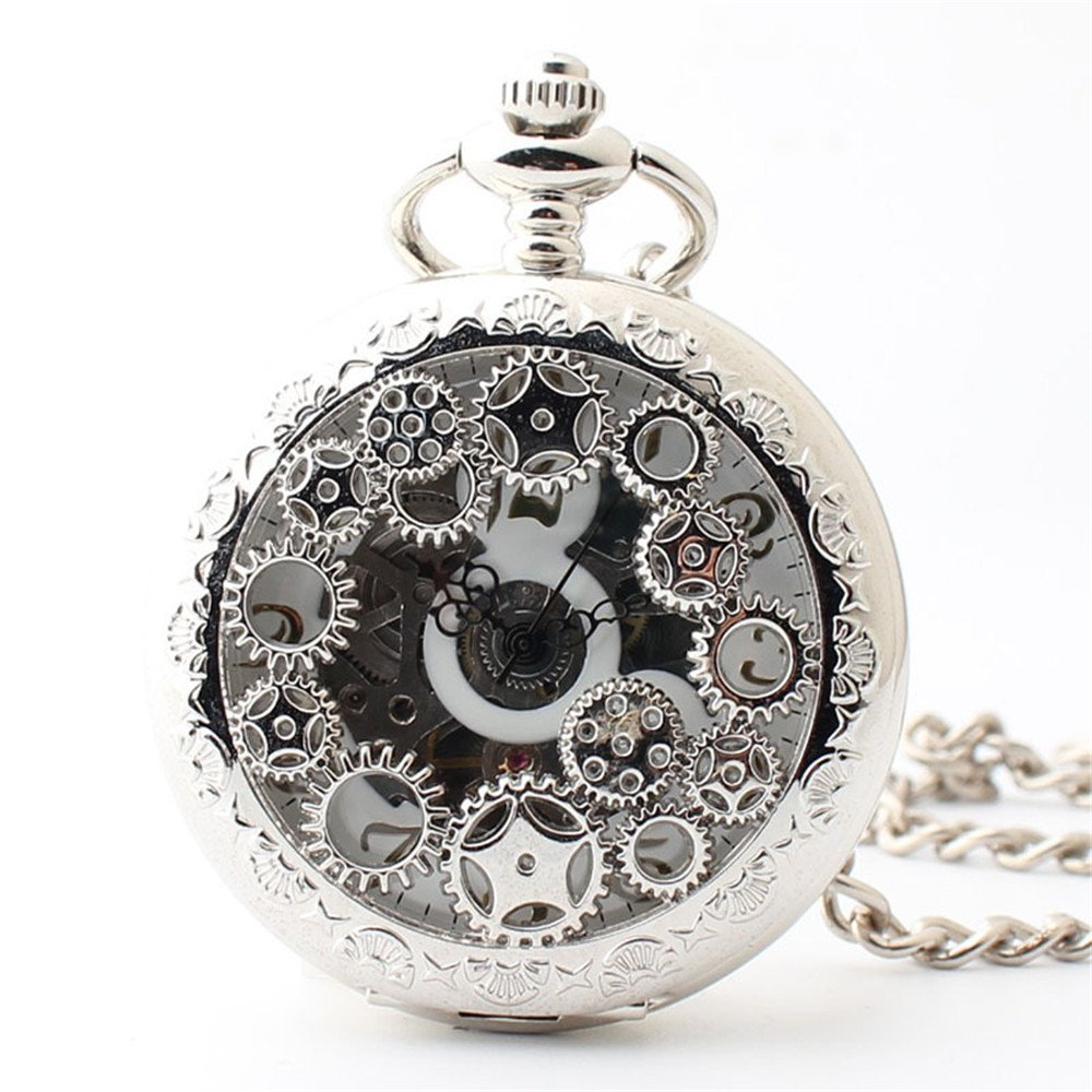 Zxcvlina Classic Smooth Exquisite Silvery Mechanical Pocket Watch Boutique Gear Carved Unisex Hollowed Retro Pocket Watch with Chain Suitable for Gift Giving