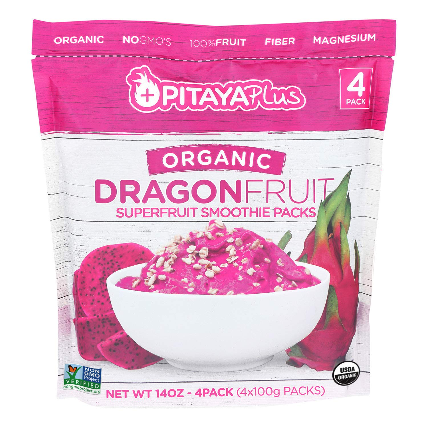 Pitaya Plus Organic Red Dragon Fruit Smoothie Pack. Frozen Puree Packets that are a Good Source of Fiber, Magnesium, Potassium, Iron & More. 14 oz (Pack of 15) by Pitaya Plus