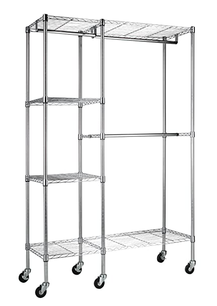 Sandusky Lee EZGR4818 RW3 Steel Garment Rack, 2 Adjustable Shelves, 2  Adjustable Half