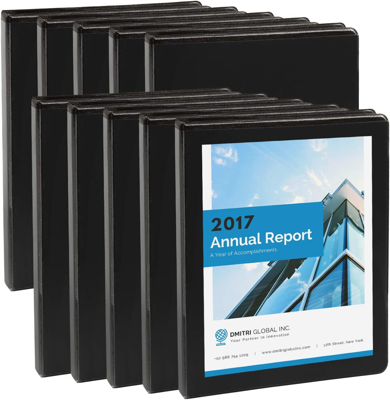 Blue Summit Supplies 10 Pack of 1/2 Inch 3 Ring Economy Binders, Black, Bulk Clear Cover Binders for Home, Office, and School, 8 1/2 Inch x 11 Inch Paper, Value Pack