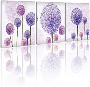 HVEST Purple Dandelion Abstract Painting Purple Flowers Bloom Plant Seeds of Hope Canvas Wall Art Stretched and Framed Ready to Hang for Home Living Room Bedroom Bathroom Decor,12x16 inch x3 Panel