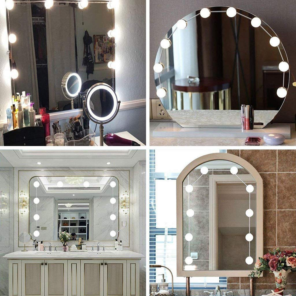 ????10 LEDs DIY Dimmable Vanity Mirror Lights Decoration Kit Bulbs for Makeup Hollywood Mirror