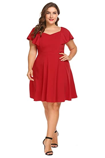 Image Unavailable. Image not available for. Color  IN VOLAND Women s Plus  Size Official Retro Ruffles Cap Sleeve Formal Pleated Skater Dress dbe2110ede3e