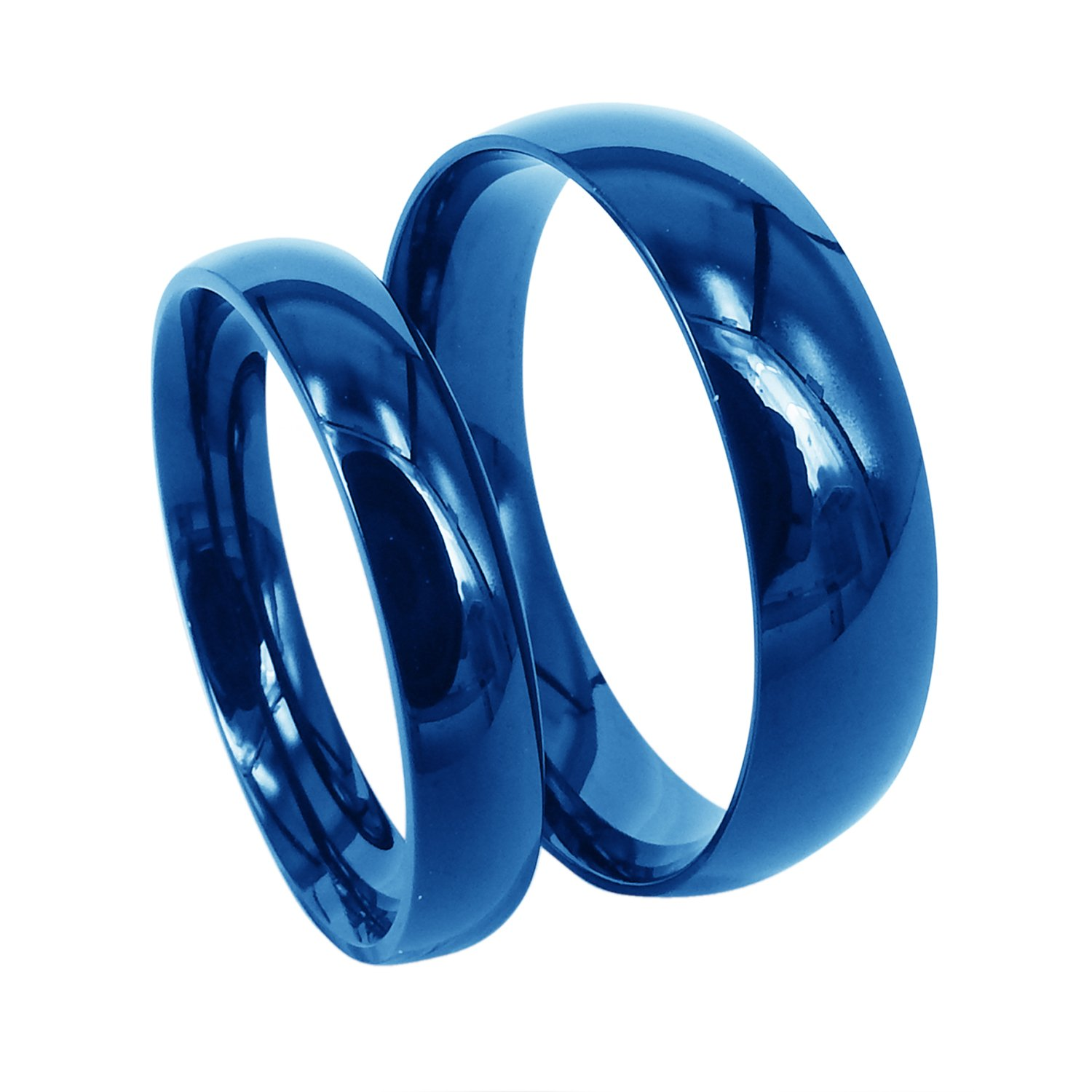 Everstone Titanium Rings for Men Women/  Polish Blue Dome 4mm//6mm Size 3.5-16.5