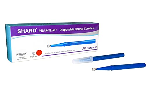 SHARD Disposable Dermal Curettes, Individually Packed & Sterile - Box of 10 (4 mm)