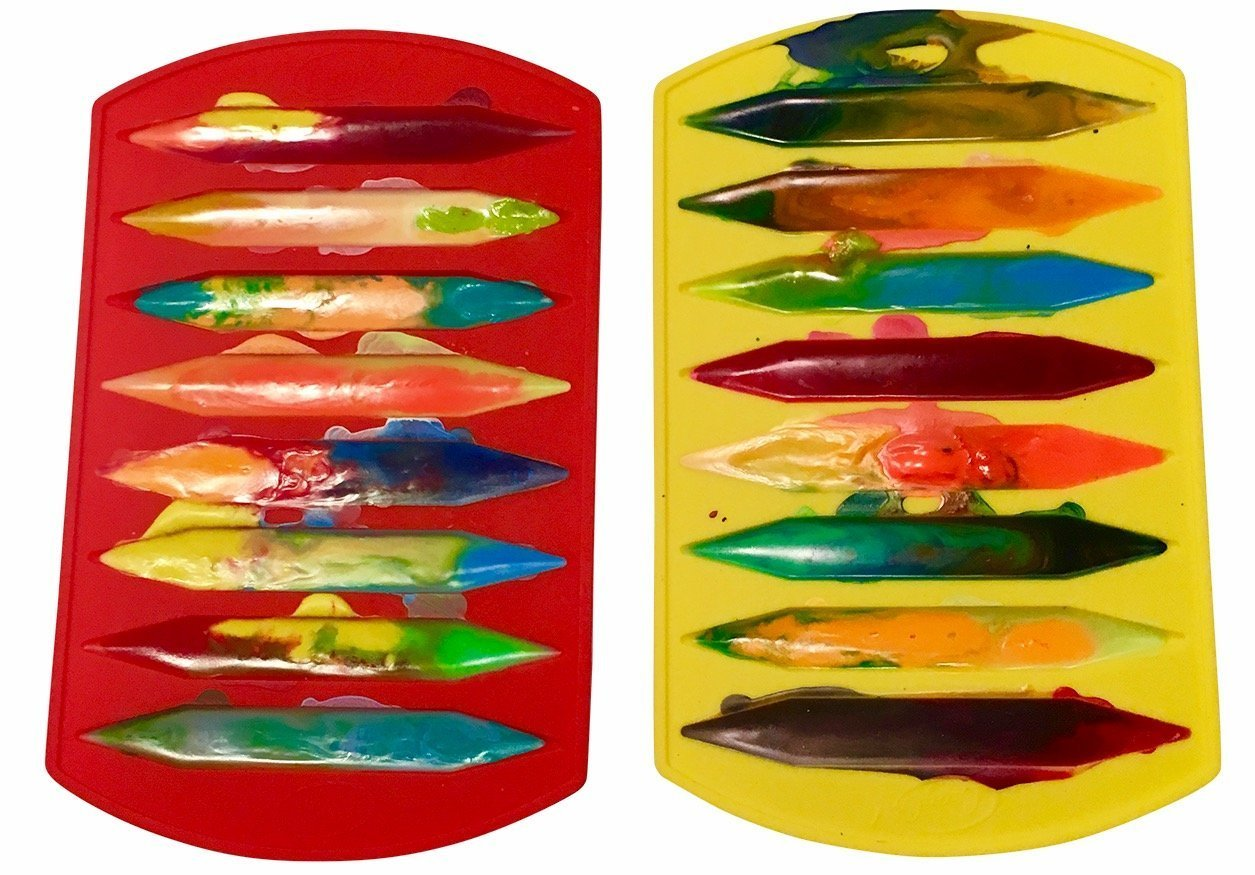 CrayOn 2 Double Tipped, Triangular Silicone Crayon Molds - Makes 16 Crayons (Total) by My Fruit Shack (Image #3)
