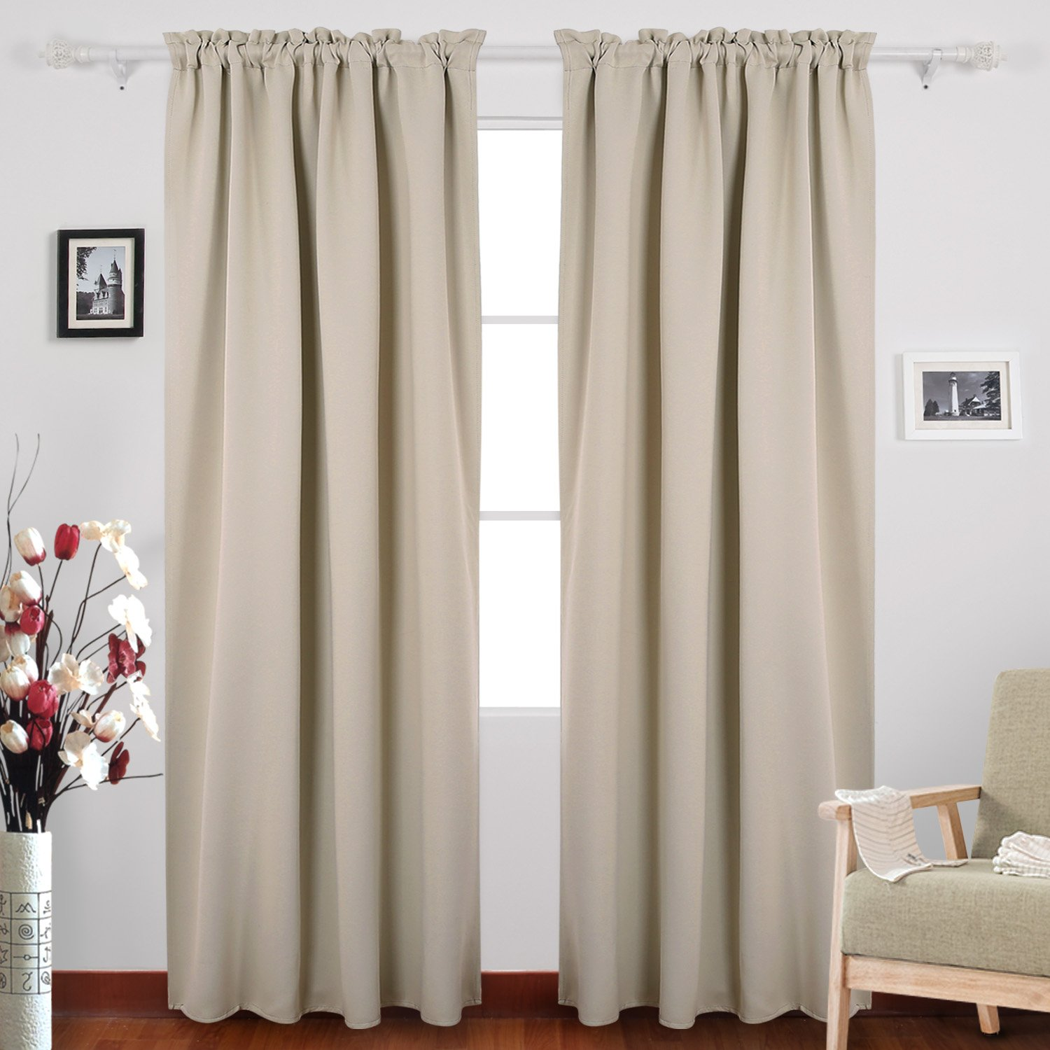 Deconovo Rod Pocket Blackout Room Darkening Curtains for Bedroom Beige