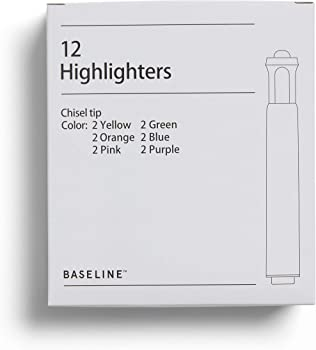12-Pack Baseline Highlighters, Chisel Tip